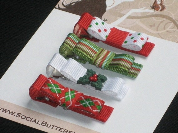 Christmas Holly No Slip Hair Clips  - Buy 3 Items Get 1 FREE