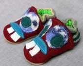 Monster Mash Wool Slippers Kids  Slippers Leather Bottom Size 6-12 months old made from recycled materials
