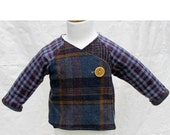 Purple Plaid Wool Kimono Jacket 3-12 mos. made from reclaimed materials