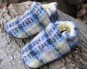 Blue Plaid Wool Slippers Kids Size 12-18 months old made from recycled materials