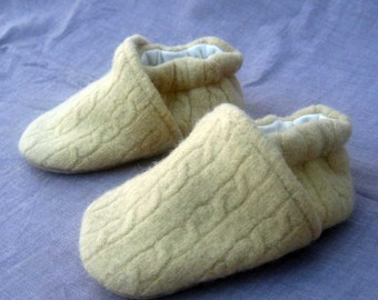Butter Cable Knit Wool Baby Slippers Ultrasuede Bottom  made from recycled materials Size 0-6 mos Ready to Ship