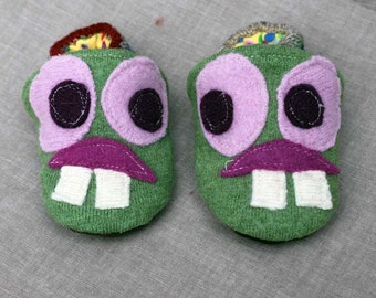 Lucky Monster Wool Slippers Kids Size 6-12 months old made from recycled materials