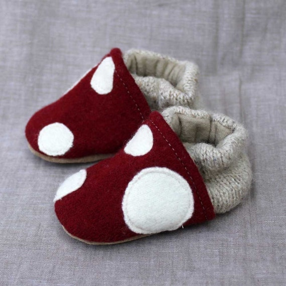 Little Mushroom Baby Slippers Leather Bottom Choose Size ( 0-6 mos. or 6-12 mos.) made from recycled materials
