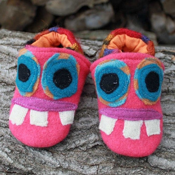 Pink Monster Wool Slippers Kids Size 12-18 months old made from recycled materials