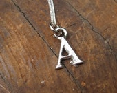 SMALL Letter A Alphabet Charm Necklace with Sterling Silver Chain