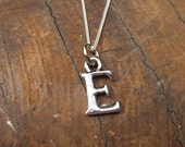 SMALL Letter E Alphabet Charm Necklace with Sterling Silver Chain