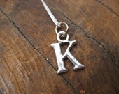 Small Letter  K Alphabet Charm Necklace with Sterling Silver Chain