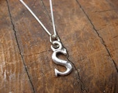 Small Letter S Alphabet Charm Necklace with Sterling Silver Chain