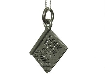Cookbook Charm Necklace with Sterling Silver Chain