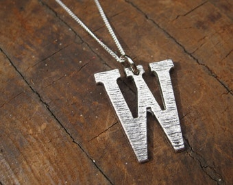 Large Letter W Alphabet Charm Necklace with Sterling Silver Chain