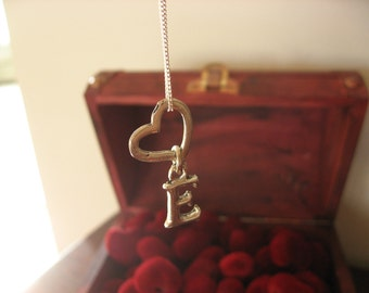 Silver pewter Heart  and Small Initial Charm Necklace