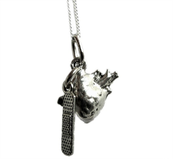 Bandage on my Heart Sterling Silver and Pewter Charm Necklace with Anatomical Heart Charm