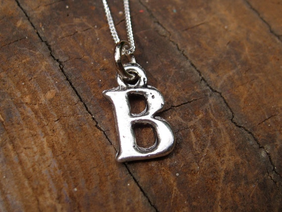 SMALL Letter B Alphabet Charm Necklace with Sterling Silver Chain
