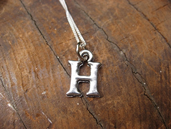 Small Letter H Alphabet Charm Necklace with Sterling Silver Chain