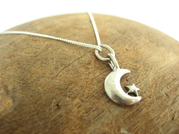 Moon and Star Charm Neckace with Sterling Silver Chain