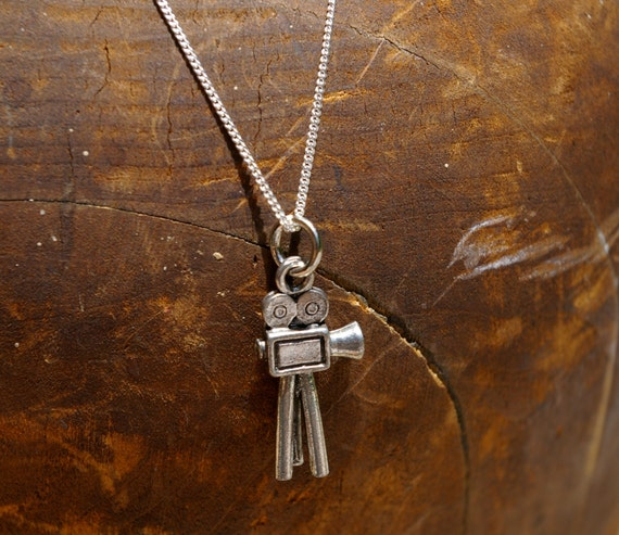 Movie Camera Charm Necklace with Sterling Silver Chain