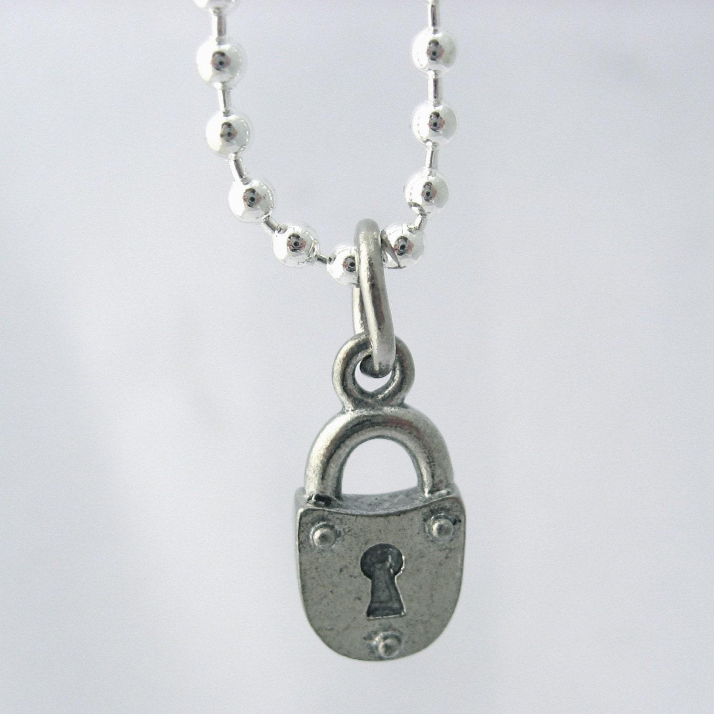 Men S Lock Charm Necklace