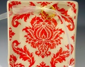 Reserve Listing for phantomyw damask RING BEARER DISH in ivory and red for your wedding and years to come by Dawn Dalto
