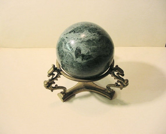 Green Marble Ball : Clearance green marble ball with brass dragon motif stand