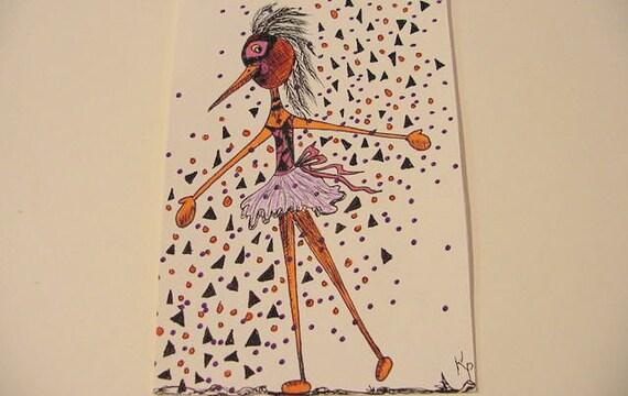 original art drawing Poppet 17 ooak stick bird dancer surreal kitsh postcard size Clearance