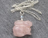 Pink Rose Quartz Bunny Rabbit Necklace on Sterling Silver Chain