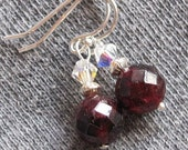 Garnet Earrings Faceted Deep Red with Sterling Silver and Swarovski Crystal Accents Gorgeous