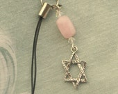 Star of David Cell Phone Charm Pink Rose Quartz Gem Stone Nugget and Swarovski Crystal in Silvertone