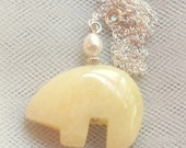 Necklace Bear Yellow Honey Jasper Sterling Silver Pearl Zuni Pendant Chain