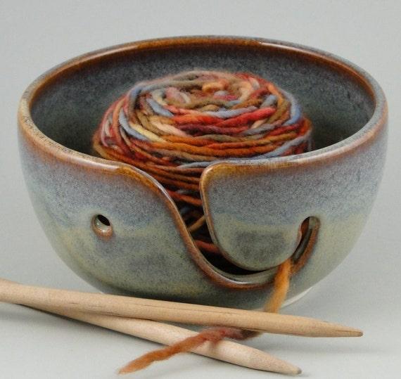 Yarn Bowl in Multi-Hued Blues & Greens