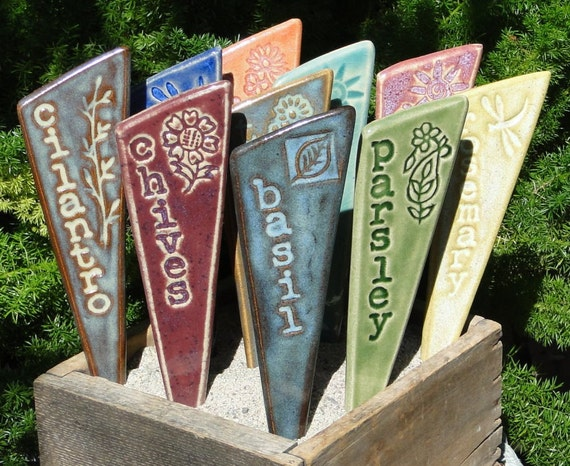 Herb Garden Stakes / Plant Markers - A Set of 3
