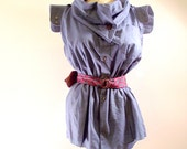Shirt - Blue Cowl Neck Button Down with Neck Tie Belt -:Large- by Jen Ell's Revenge