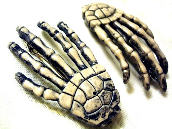 Skeleton Hand Barrettes Hair Clips Skelly White - Halloween