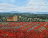 Flowers, flower painting, Original art on canvas, red flowers, original landscape, modern art, foust,
