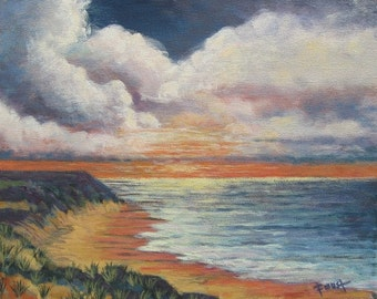 Ocean View at Sunset. 16 X 20 Gallery wrapped canvas.