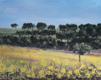 Impressionist landscape, original on canvas, flowers, field, meadow, 11X14, FREE SHIPPING.