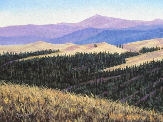Mountain View, western art, original Painting 18 X 24, Free Shipping.