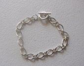 Bracelet, silver tone with toggle clasp