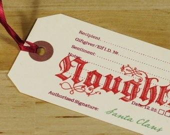 Hand-printed Christmas Gift Tag -- Naughty