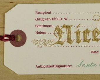 Hand-printed Christmas Gift Tag -- Nice