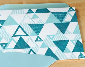 Set of 6 Hand-printed Triangle Pattern Cards -- White