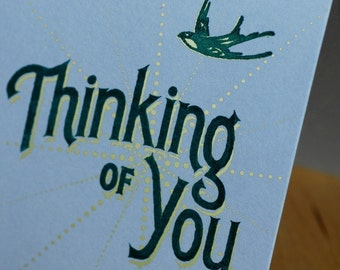 Hand-Printed Greeting Card -- Thinking of You