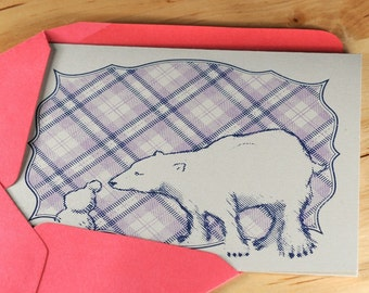 Set of 6 Hand-printed Polar Bear and Snowman Cards -- Grey