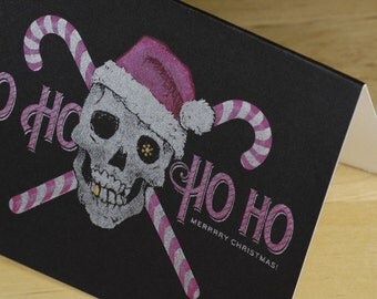 Set of 6 Hand-printed Christmas Cards -- Yo Ho Ho Ho