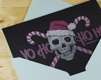Hand-printed Christmas Card -- Yo Ho Ho Ho Pirate