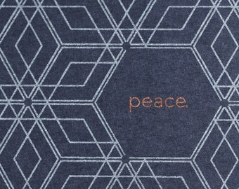 Set of 6 Hand-printed Holiday Cards -- Peace on Midnight