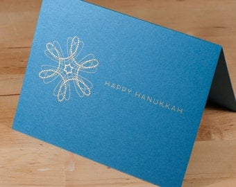 Hanukkah Card -- hand-printed gold on blue card