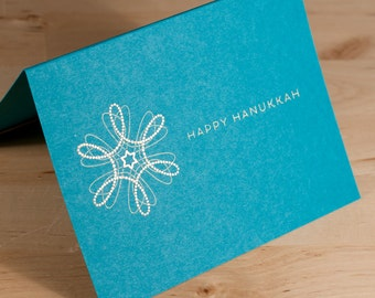 Hanukkah Card -- hand-printed gold on teal card