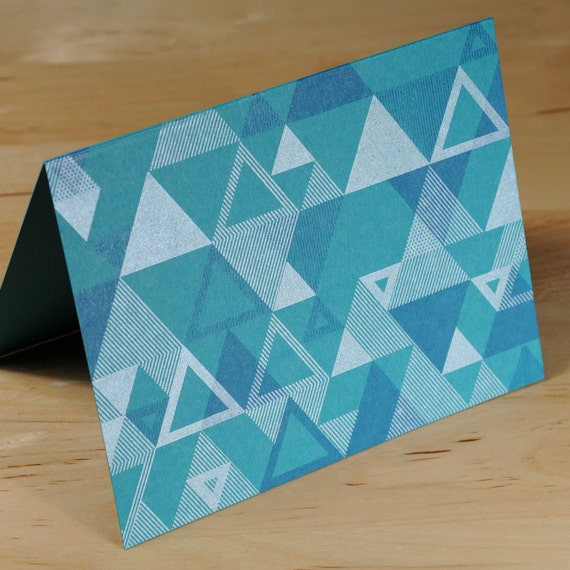 Set of 6 Hand-printed Triangle Pattern Cards -- Peacock Blue