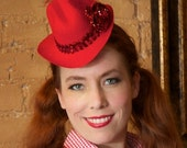Red sparkly mini cowgirl hat (Rhinestone Cowboy special)