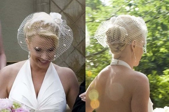 Birdcage veil bridal headpiece feather fascinator
